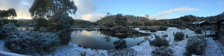 Beautiful snow at Cradle Valley - view from our emergency accommodation @ Peppers Cradle Mountain Lodge